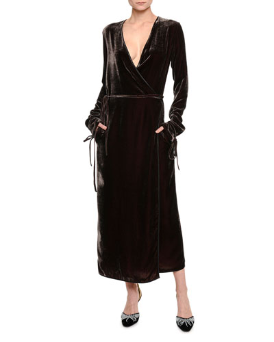 Velvet Long-Sleeve Robe Dress