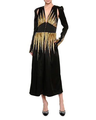Beaded Satin Slit-Sleeve Midi Dress