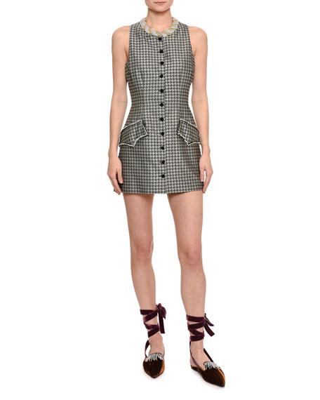 Embellished Houndstooth Mini Dress