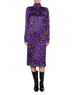 Printed Mock-Neck Midi Dress