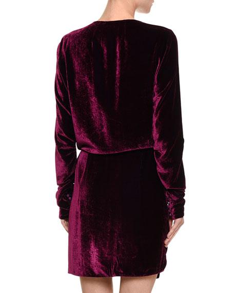 Long-Sleeve Velvet Wrap Dress