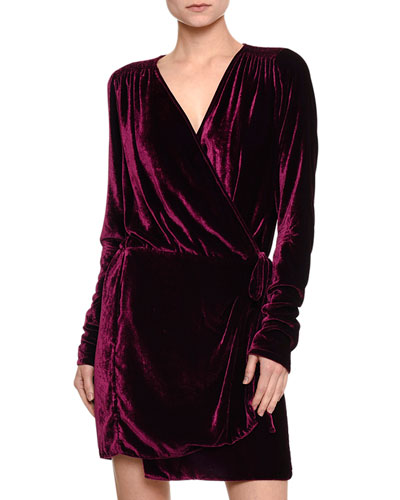 Long-Sleeve Velvet Wrap Dress