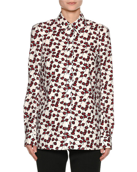 Printed Poplin Long-Sleeve Blouse