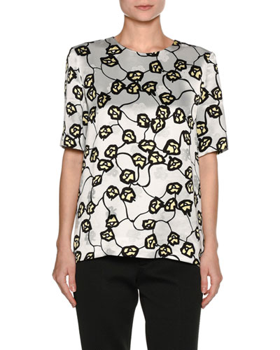 Printed Short-Sleeve Top