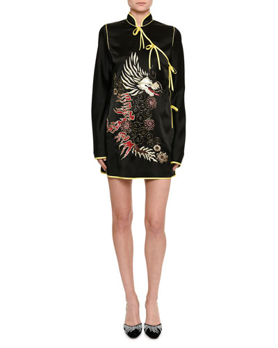 Dragon-Embroidered Satin Kimono Dress