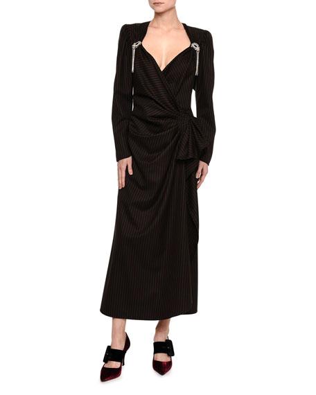 Pinstriped Velvet Long-Sleeve Dress