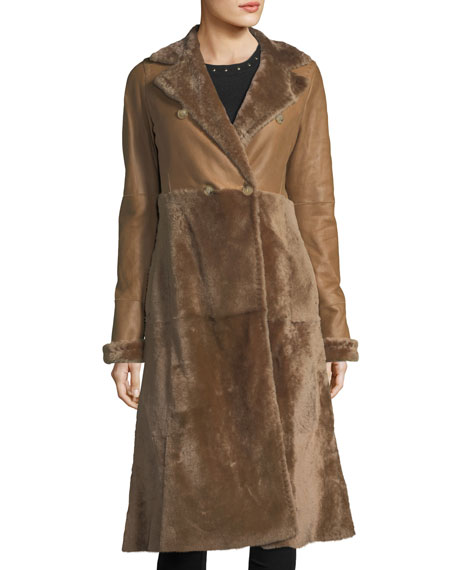 Double-Breasted Shearling Fur Coat