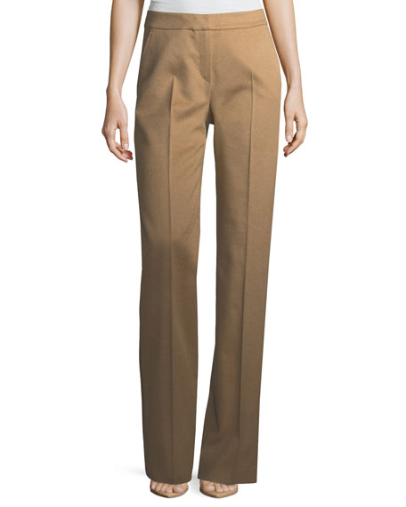 Camel Hair Straight-Leg Pants