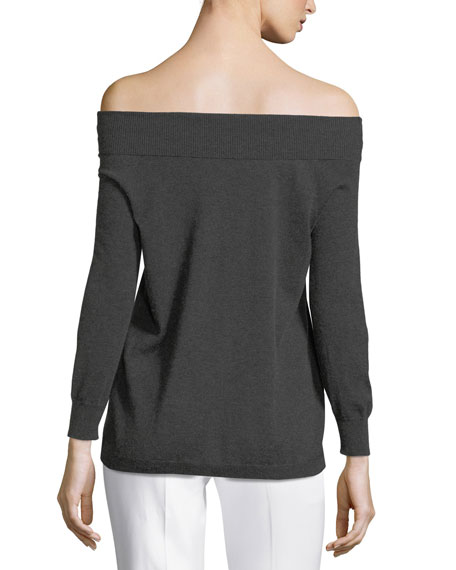 Silk/Cashmere Off-the-Shoulder Knit Top