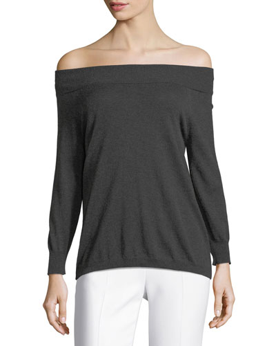 Silk/Cashmere Off-the-Shoulder Knit Top
