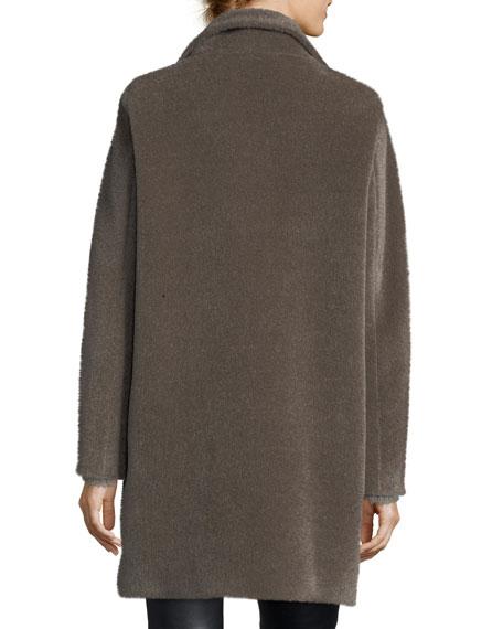 Mock-Neck Alpaca/Wool Coat