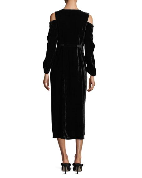 Velvet Cold-Shoulder Midi Dress