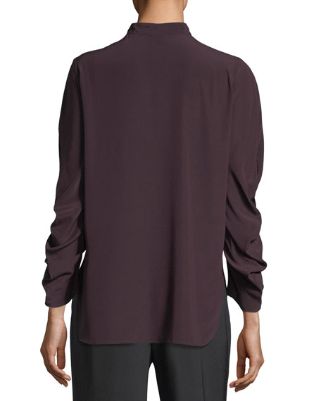 Ruched-Sleeve Band-Collar Blouse