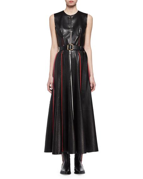 Sleeveless Laced Leather Midi Dress