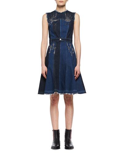Metallic Embroidered Denim Patchwork Dress