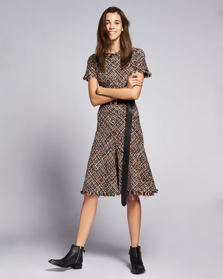 Fringed Tweed Midi Dress