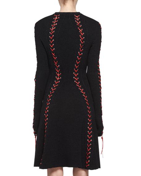 Laced Long-Sleeve Knit Dress