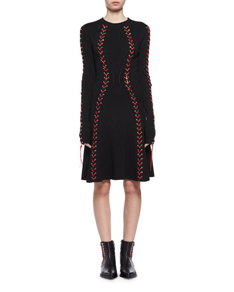 Boucl &Copy; Mini Dress With Wool, Silk And Leather Lace-Up Detail, Black