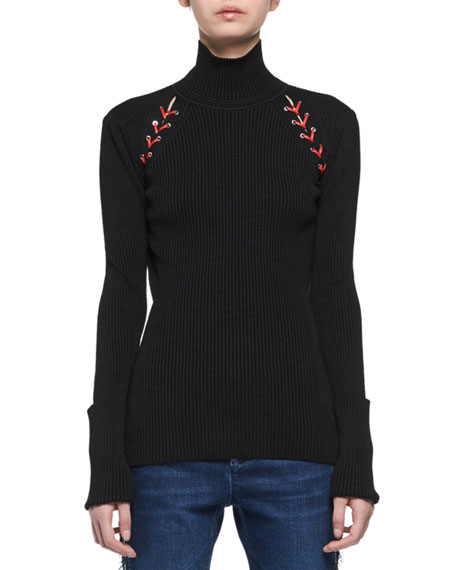 Laced Knit Turtleneck Top