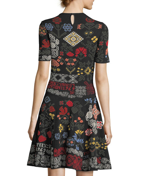 Needlepoint Fit & Flare Dress