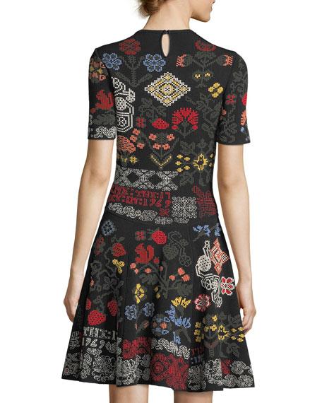 Needlepoint Fit & Flare Dress