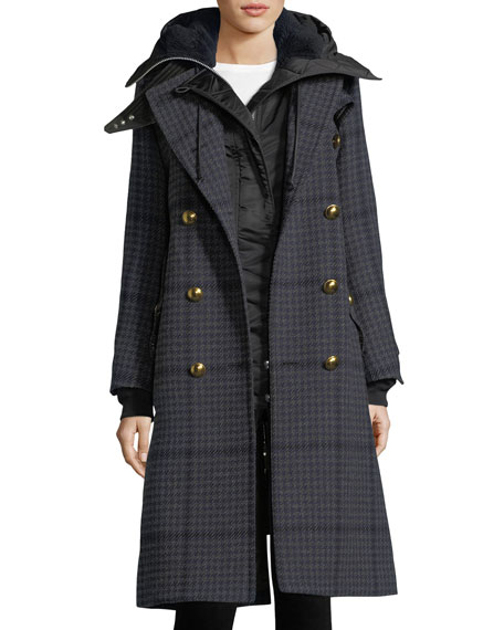 Hooded Mid-Length Houndstooth Combo Coat