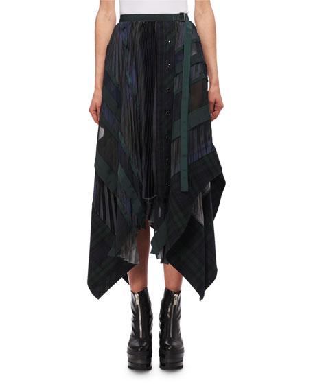 Pleated Plaid Midi Skirt