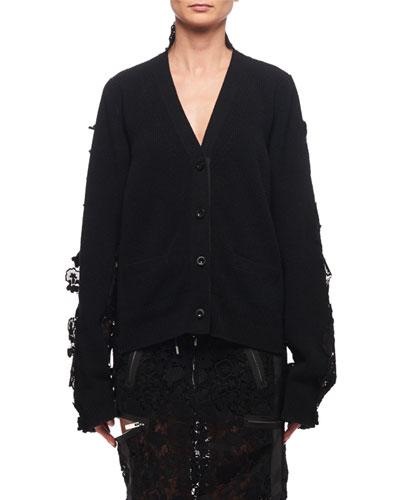 Lace-Trim Wool Cardigan