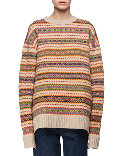 Crewneck Knit Fair Isle Sweater