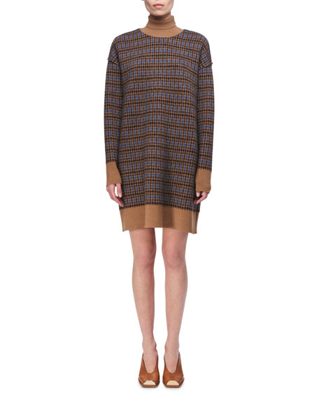 Crewneck Plaid Sweaterdress