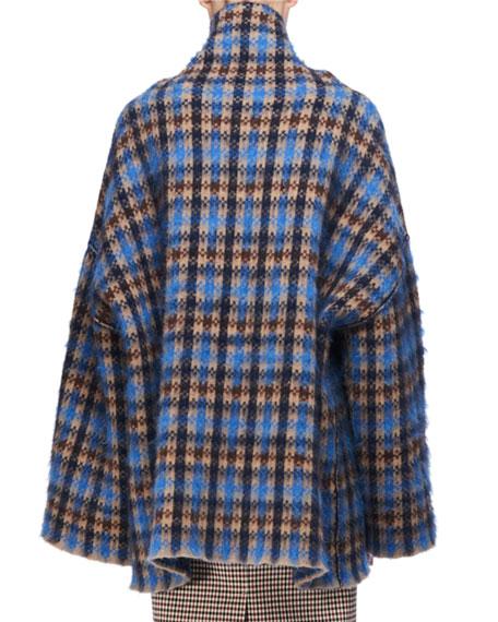 Oversized Plaid Mock-Neck Sweater