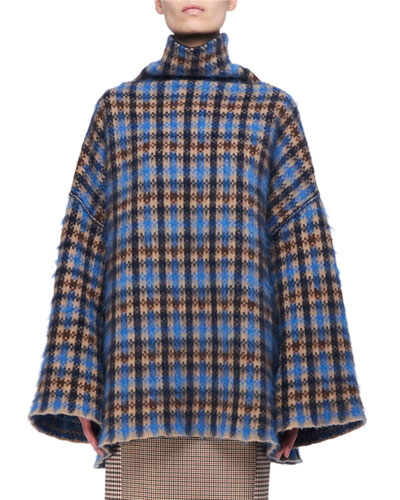 Oversized Plaid Mock-Neck Sweater