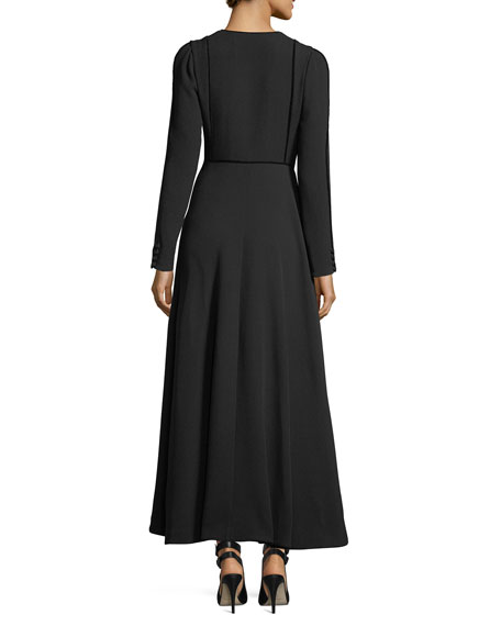 Long-Sleeve V-Neck Wrap Dress