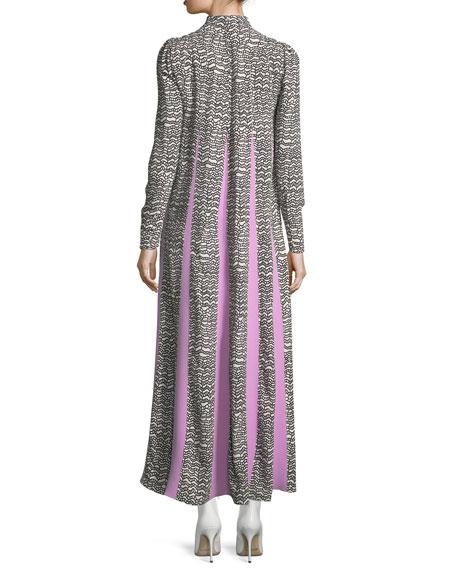 Long-Sleeve Pleat-Print Maxi Dress