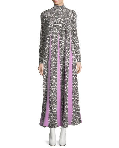Long-Sleeve Pleat-Print Maxi Dress