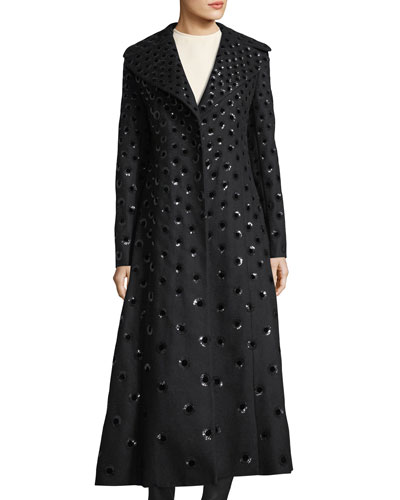 Embellished Wool-Blend Coat