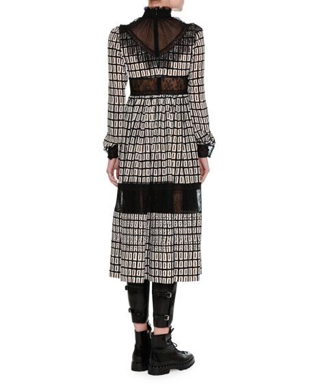 Graphic-Square Crepe de Chine Midi Dress
