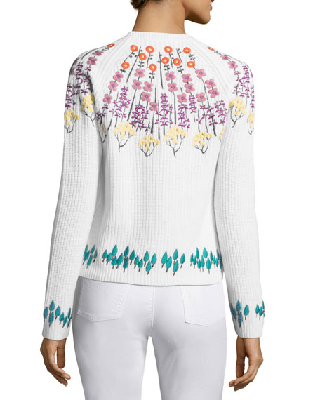 Floral-Embroidered Rib-Knit Sweater