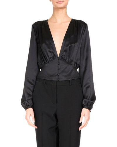 Satin V-Neck Tie-Waist Blouse