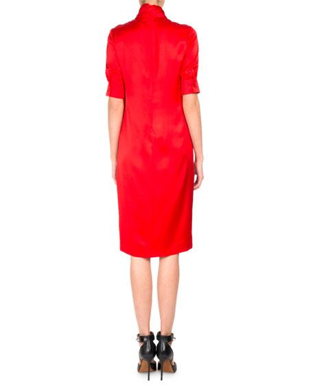 Half-Sleeve Tie-Neck Silk Cocktail Dress