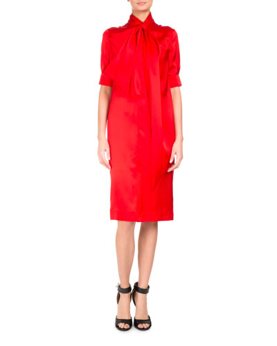 Half-Sleeve Tie-Neck Silk Cocktail Dress