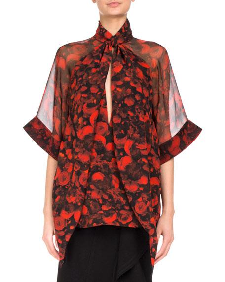Floral-Print Tie-Neck Chiffon Blouse