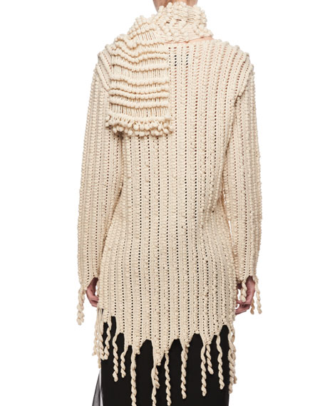 Wool Fringe Cardigan Sweater