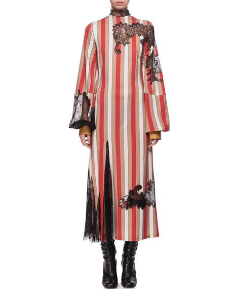 Striped Lace-Trim Puff-Sleeve Dress