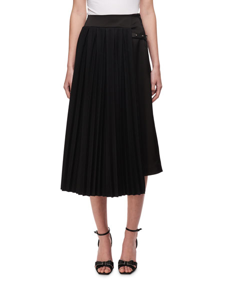Pleated Asymmetric Midi Skirt