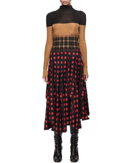 Degrade Pattern Mock-Neck Midi Dress