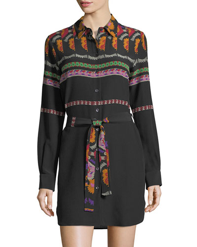 Mixed-Print Belted Shirtdress