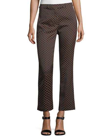 Cropped Metallic Jacquard Pants