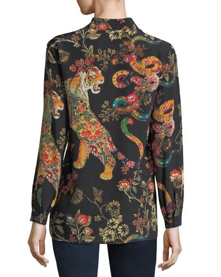 Tiger-Print Silk Blouse