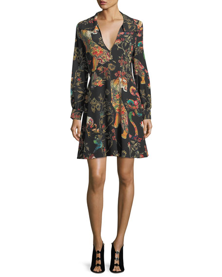 V-Neck Long-Sleeve Tiger Paisley Dress